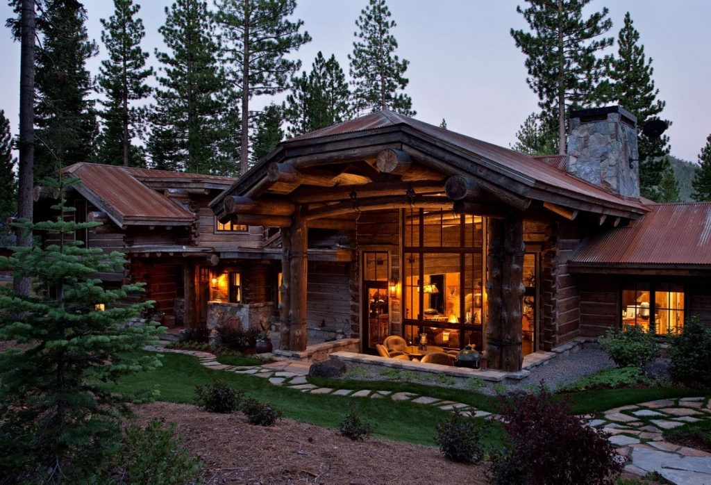 log cabin evening